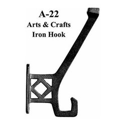 Vintage Style Hooks, Shelves, and Brackets - This is a sand cast, painted black iron hook.