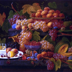 "Severin Roesen Fruit and Lemon Water - 16"" x 24"" Premium Archival Print - 16"" x 24"" Severin Roesen Fruit and Lemon Water premium archival print reproduced to meet museum quality standards. Our museum quality archival prints are produced using high-precision print technology for a more accurate reproduction printed on high quality, heavyweight matte presentation paper with fade-resistant, archival inks. Our progressive business model allows us to offer works of art to you at the best wholesale pricing, significantly less than art gallery prices, affordable to all. This line of artwork is produced with extra white border space (if you choose to have it framed, for your framer to work with to frame properly or utilize a larger mat and/or frame).  We present a comprehensive collection of exceptional art reproductions bySeverin Roesen."