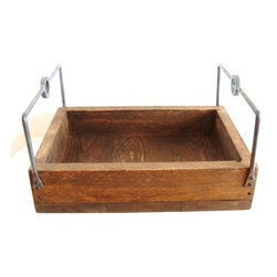 """Wood Serving Tray with Rugged Forged Iron Handles by Bacon Square Farm - You had me at """"rugged forged iron handles."""" This could live happily in so many places, but I think I might use it as a a little coffee bar."""