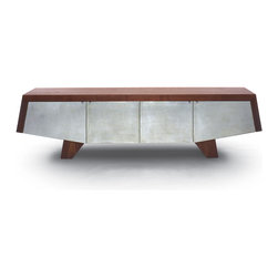 Night Wing Sidecase - Inspired by the mechanics of flight, this sidecase features aluminum leaf paneling and legs resembling the undercarriage of jet aircraft. The Night Wing sidecase is designed by Sherwood Hamill, co-founder of angela adams, and is handcrafted in Portland, Maine. Shown here in Walnut.