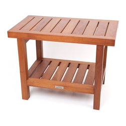 """24"""" Teak Bench with Shelf - Ideal for a spa or mudroom this bench adds a touch of style to any environment. Made from sustainably harvested teak wood it can maintain it's strength and appearance even when regularly exposed to water, although regular treatment (twice a year) and cleaning is recommended. All the hardware in this bench is stainless steel and it comes with a 30 day returns window and a 5 year warranty. (Some assembly is required)."""