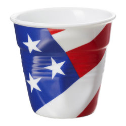 Revol - Revol Porcelain Froisses Espresso Tumbler White with American Flag - Show your true colors while you savor your coffees, teas and other hot beverages. These cups are so tough you can microwave or bake in them. Give everybody somebody to cheer for as you hand out appetizers and drinks in these fun, colorful tumblers in your choice of colors or national flags.