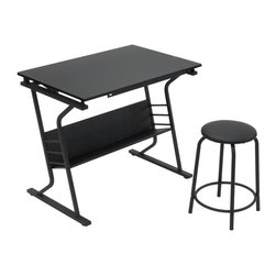 Studio Designs - Eclipse Table with Stool - 24 in. Slide-Up Pencil Ledge. Additional Under Desktop Storage Shelf. Top Angle Adjustment from Flat to 30 Degrees. Heavy Gage Steel Construction for Durability. 4 Floor Levelers for Stability. 20.5 in. Padded Stool Included. Overall Dimensions: 35.5 in. W x 23.75 in. D x 30 in. H (36 lbs)This 2-piece Eclipse table and stool by Studio Designs provides a comfortable work space and keeps your supplies easily accessible. The table top is adjustable up to 30 degrees and includes a 24 in. pencil ledge that slides up and locks into place when needed. The set also features a padded stool. The durable heavy gage steel construction includes four floor levelers for stability.
