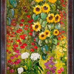 None - Gustav Klimt 'Farm Garden with Sunflowers' Hand Painted Framed Canvas Art - Artist: Gustav Klimt Title: Garden with Sunflowers Product type: Hand painted art