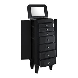 Powell - Black Glass Jewelry Armoire - This modern noir jewelry armoire provides ample safe storage space for your treasures and baubles. Finished in black and accented with dark glass,this piece is both eye-catching and elegant.