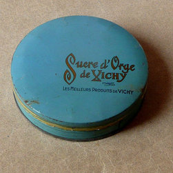 Vintage French 'Sucre d'Orge Vichy' Candy Tin by One Man's Junque - I have a collection of vintage French tins. The color of this one is gorgeous and would look lovely displayed on a kitchen shelf.