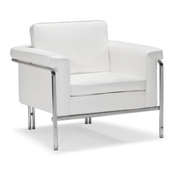 ZUO MODERN - Singular Arm Chair White - With clean lines and sleek chrome, the Singular series is a sexy piece for your home. The Singular has a 100% chrome frame wrapped in a plush leatherette that comes in three colors: black, white and terracotta.