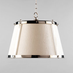Vaughan Nickel Hanging Shade - This beautiful pendant light adds the shine of nickel with the sophisticated texture in its linen shade.