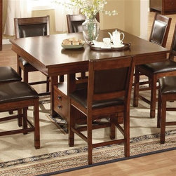 Legends Furniture - Alpine Lodge 5 Pc Gathering Set - Includes table and four barstools. Square shape table. Storage area behind drop front door. One shelf. Upholstered seat and back stools. Limited lifetime warranty. Made from leather, rubberwood and PB with birch veneer. Rustic auburn finish. Table: 54 in. L x 54 in. W x 36.5 in. H. Barstool: 23.63 in. W x 20 in. D x 42.5 in. H