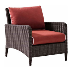 """Crosley - Kiawah Outdoor Wicker Arm Chair With Sangria Cushions - Dimensions:  32"""" H x 30"""" W x 28.5"""" D"""
