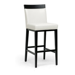 Baxton Studio - Baxton Studio Clymene Black Wood and Cream Leather Modern Bar Stool - Classic black and white makes a modern statement. Our Clymene Modern Bar Chair shines boldly with cream bonded leather against a black wood frame.  This designer bar stool is made in China with foam cushioning, non-marking feet, and matching cream leather piped edges.  Fully assembled.  To clean, wipe with a damp cloth and dry immediately.  A matching Clymene Dining Chair is also available (sold separately).Seat dimensions: 30.25 inches high x 18 inches wide x 16.5 inches deep