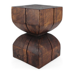 Pfeifer Studio - Shaped Wooden Stool Table - This graphic little side table is hand cut from solid Pine wood harvested in the mountains of New Mexico. The shape and dimensions make it ideal as either a side table or a stool. They are dried in our solar kiln and finished to order.