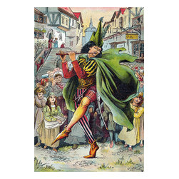 Custom Photo Factory - Pied Piper Leading Children Canvas Wall Art - Pied Piper Leading Children  Size: 20 Inches x 30 Inches . Ready to Hang on 1.5 Inch Thick Wooden Frame. 30 Day Money Back Guarantee. Made in America-Los Angeles, CA. High Quality, Archival Museum Grade Canvas. Will last 150 Plus Years Without Fading. High quality canvas art print using archival inks and museum grade canvas. Archival quality canvas print will last over 150 years without fading. Canvas reproduction comes in different sizes. Gallery-wrapped style: the entire print is wrapped around 1.5 inch thick wooden frame. We use the highest quality pine wood available. By purchasing this canvas art photo, you agree it's for personal use only and it's not for republication, re-transmission, reproduction or other use.