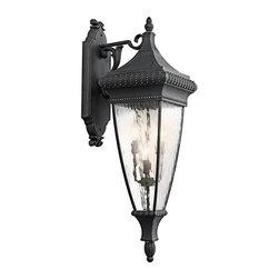 Kichler - Kichler Venetian Rain Outdoor Wall Mount Light Fixture in Black with Gold - Shown in picture: Kichler Outdoor Wall Lantern 4Lt in Black W/Gold