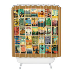 DENY Designs - Anderson Design Group City Pattern Border Shower Curtain - Who says bathrooms can't be fun? To get the most bang for your buck, start with an artistic, inventive shower curtain. We've got endless options that will really make your bathroom pop. Heck, your guests may start spending a little extra time in there because of it!