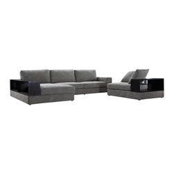VIG Furniture - Anthem - Fabric Modern Sectional with Wood Shelves - The Anthem is a fresh, fabric modern sectional set that stands out as a piece of practicality. Dark wooden shelving surrounds the sectional and corner chair included in this set. The shelves add accommodating storage space behind the luxurious cushions propped against them: a perfect place to store your books and magazines within arm's reach.