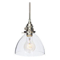 "Hammers & Heels - Hand Blown 6"" Clear Glass Stainless Steel Cord Pendant Light - Handblown in the USA, this stunning clear glass shade pendant is the most versatile in our collections. From home kitchen to restaurant dining room this fixture is stately yet sophisticated enough to stand alone."