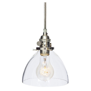"""Hammers & Heels - Hand Blown 6"""" Clear Glass Stainless Steel Cord Pendant Light - Handblown in the USA, this stunning clear glass shade pendant is the most versatile in our collections. From home kitchen to restaurant dining room this fixture is stately yet sophisticated enough to stand alone."""