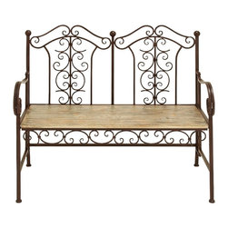 Woodland Imports - Metal Wood Park Bench Scrollwork Brown Copper Accent Decor - Classic design metal and natural wood park bench with beautiful scrollwork with a brown and copper finish accent decor