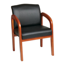 Office Star - Work Smart WD Collection WD380-U6 Black Faux Leather Oak Finish Wood Visitors Ch - Black Faux Leather Oak Finish Wood Visitors Chair. Thick Padded Seat and Back with Built-in Lumbar Support. Faux Leather: Black (-U6). Mahogany Finish Wood Base and Arms.