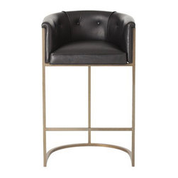 Arteriors Home - Arteriors Home Calvin Leather/Antique Brass Barstool - Arteriors Home 2670 - If you invite guests to pull up a seat and they pull up this one, they may never go home. It's much more than a barstool, it's an easy chair on steroids. The leather upholstery is stylish and elegant. The low back and curved box-style seating supports and cushions your body. Elevate your decor while you elevate your body.