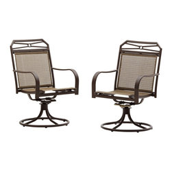"Strathwood - Strathwood Rawley Swivel Rocker Dining Arm Chair (Set of 2) - ""The Strathwood Rawley collection helps transform any porch, patio, or back deck into welcoming place to visit with friends or to simply enjoy a bit of tranquility. As part of the Rawley collection, this set of two outdoor swivel-rocker dining arm chairs gracefully combines style and comfort to pleasing results. Whether placed on the patio next to a fire pit or clustered around a table for dinner parties, the chairs make a welcome addition to any outdoor furniture collection. Each handsome chair features a durable yet lightweight frame made of cast aluminum that resists chipping, fading, and rusting and comes with a brown powder-coated finish for enhanced protection and visual appeal. Each chair also provides a comfortable seat and supportive back made of woven, water-resistant Textilene fabric in a blend of light- and dark-brown hues. A geometric design on the frame's back adds extra support and attractive good looks, while rounded arms complement the chair's back. Each chair gently rocks back and forth, plus offers 180-degree swivel capability, while four curved legs connected to a round, hoop-shaped base provides stability. Tastefully designed to blend with almost any decor, the set of two dining arm chairs can be used on their own, with existing outdoor furniture pieces, or as part of the coordinating Rawley furniture collection from Strathwood (dining table, umbrella, and other pieces from the collection sold separately). Each swivel-rocker dining arm chair measures 37.2 inches high by 23.6 inches deep by 27 inches wide and weighs just over 17 pounds. The chairs require some easy assembly. As needed, simply spot clean and air dry."""