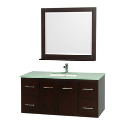 Wyndham Collection - 4 Drawer Bathroom Vanity Set - Includes one square porcelain undermount sink and matching mirror with shelf. Faucet not included. Two functional doors. Plenty of storage and counter space. Single faucet hole mount. Green glass top. Engineered to prevent warping and last a lifetime. 12 stage wood preparation, sanding, painting and finishing process. Highly water resistant low V.O.C. sealed finish. Unique and striking contemporary design. Modern wall mount design. Deep doweled drawers. Fully extending under mount soft close drawer slides. Concealed soft close door hinges. Made from solid oak hardwood. Espresso and brushed chrome exterior hardware finish. Vanity: 48 in. W x 21.5 in. D x 22.75 in. H. Mirror: 36 in. W x 33 in. H. Care Instruction. Assembly instructions - Vanity. Assembly instructions - Counter Top. Assembly instructions - Undermount Sink. Assembly instructions - MirrorSimplicity and elegance combine in the perfect lines of the Centra vanity by the (No Suggestions) Collection. If cutting edge contemporary design is your style then the Centra vanity is for you modern, chic and built to last a lifetime. You'll never hear a noisy door again! The attention to detail on this beautiful vanity is second to none.