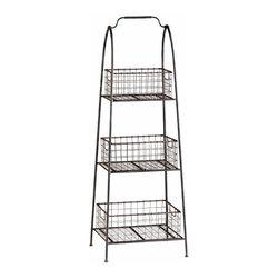 3 Tier Raw Steel Vintage Look Basket Stand - *Essex Basket Stand