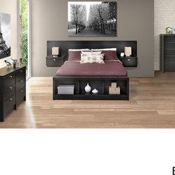 Prepac - Valhalla Designer Series Floating Queen Headboard Set - This three-in-one queen headboard set will maximize your floor space while making your bedroom decor more contemporary. Made of durable composite wood,this set features a floating headboard with space for you to store photos,books,and more.