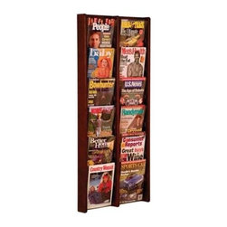 Wooden Mallet - Magazine Wall Rack in Oak & Acrylic w Twelve - Finish: Medium OakThis stylish side-by-side wall mount magazine rack is a beautiful way to display magazines and other literature neatly. The unit features acrylic pockets for visibility, and includes optional removable dividers for smaller brochures. The rack is available in your choice of finishes, and is pre-drilled for easy wall mounting. Furniture quality construction with solid oak uprights and clear acrylic pocket front panels. Pre-drilled with hardware included for simple wall mounting. Available wood finishes perfectly compliment Wooden Mallet's Dakota Wave furniture collections. Pictured in Dark Red Mahogany. No assembly required. Optional removable dividers not included give you the versatility to display as many 4 in. brochures as you need in which ever location you prefer and they can easily be changed to adjust for your future needs. 1-Year warrantyDimensions. 3 in. D x 21.25 in. W x 48 in. H (20 lbs.). Removable Divider: 5 in. D x 8 in. W x 5 in. H (1 lb.)Wooden Mallet's Acrylic & Oak Wall Displays are specifically designed to hold single sheets of paper without drooping. This beautiful wall mountable rack will showcase your literature in style. Our innovative overlapping shelves allow you to display more literature in less space.