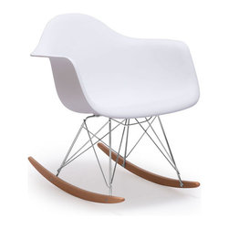ZUO - Rocket Chair - A hybrid of traditional and futuristic design, the cleverly named Rocket Chair adds sleek motion to any space. A white bucket seat tops chromed spikes and wooden rockers. Go for a ride.