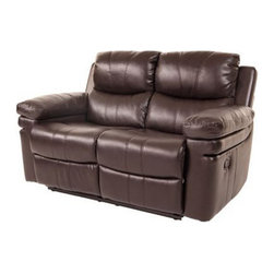 Klaussner Furniture - Calvin Reclining Loveseat, Houston Chocolate - Upholstered in leather-like microfiber with accent stitching, finished in Houston Chocolate. With full chaise pad recliners, durable and easy-to-operate, Calvin Loveseat will transform your living space into a comfortable place for relaxation and entertainment.