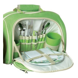 "Picnic Plus - Cooladio Picnic Pak, Lime Green - Picnic Plus Cooladio Picnic Pak AM/FM Radio Cooler 2 Person Picnic Set Plays MP3, iPod, Lime Green. Color/Design: Lime Green; Complete 2 person picnic set; With integrated detachable AM/FM radio that can play your iPod, MP3 or CD player through the front speakers with the included input cables; Large thermal foil insulated cooler will keep your food and beverages cold for many hours; Durable 600D polyester exterior; 2 person picnic set including: melamine plates, drink tumblers, cotton napkins, stainless steel flatware and easy to clean nylon cutting board with a cheese knife; Requires 9v battery (not included); Carry handle and adjustable shoulder strap; Hidden inside pocket keeps your iPod away from sand and water. Dimensions: 15""W x 7""D x 16""H"