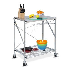 Stainless Steel Folding Urban Work Table - Honey-Can-Do TBL-01566 Folding Urban Work Table, Stainless Steel.  The Stainless Steel Folding Work Table is a great way to easily gain additional counter space in the kitchen, craft room, or workshop. It can even be used outdoors as a serving area while entertaining, then simply fold it flat and store it away. Fully portable, this work table is set on smooth rolling casters, making it easy to maneuver while in use and locks in place for stability. A lower wire mesh shelf provides additional storage. Durable stainless steel construction.