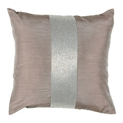 Rizzy Rugs - Rizzy Home Lilac 18 Inch x 18 Inch Pillow Cover with Hidden Zipper - - Pillow Cover with Hidden Zipper  - Poly Slub Fabric  - Beaded Details  - Primary Color - Lilac  - Secondary Color - Silver  -  Hand Wash in Cold Water. Lay Flat to Dry. Rizzy Rugs - T03588