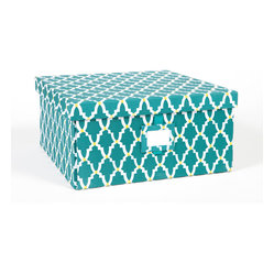 Re-Gift Collection Lattice Box, Teal, Large