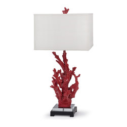 Kathy Kuo Home - Miramar Coastal Beach Red Coral Crystal Table Lamp - Exotic and enticing, this red coral sculpture adds color and whimsy to your beach cottage, bedroom or library. The geometric white shade and dark base add distinct contrast to the crimson, organic climbing coral.