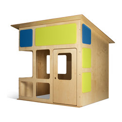 TrueModern - MD-20 Playhouse - Its made with eco-friendly and sustainable birch plywood and non-toxic clear and painted finishes. Features rounded edges and is made in the USA by a green guard Certified manufacturer.