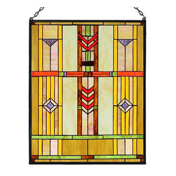 """Paul Sahlin - Arts and Crafts Prairie Window Stained Glass Panel - This Arts and Crafts Prairie Window Stained Glass Panel is hand made using the copper foil process,a method made popular by Louis Comfort Tiffany that involves wrapping the pieces of glass with copper foil and soldering them together along the length of the seams. Comes complete with mounting chains. Ht: 20"""". W: 16""""."""