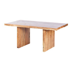Artemano - Acacia Dining Table With Wooden Legs - Three straight cut solid slabs of heavy, resilient acacia wood are the main elements in this dining room table. Available in three sizes, the sturdy Indian wood is rich in unique markings such as crevasses, grooves and knots. As suited to a contemporary décor as it is a rustic one, this versatile table is sure to be a topic of discussion at your dinner parties!