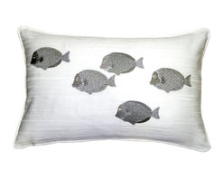 Pillow Decor - Pillow Decor - Silver Fish 14 x 20 Throw Pillow - You can't cuddle with your pet fish, but you can certainly snuggle up with this pretty fish-themed throw pillow. A school of fish adorn its white background for a fresh, modern contrast to tropical and ocean-inspired styles. You'll love the fish's metallic silver sheen and the pillow's versatility across beds, armchairs and love seats.