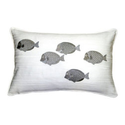 Pillow Decor - Silver Fish Throw Pillow, 14 by 20 - You can't cuddle with your pet fish, but you can certainly snuggle up with this pretty fish-themed throw pillow. A school of fish adorn its white background for a fresh, modern contrast to tropical and ocean-inspired styles. You'll love the fish's metallic silver sheen and the pillow's versatility across beds, armchairs and love seats.