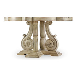 Hooker Furniture - Pedestal Dining Table - Stop scrolling. You've found the one. This pedestal table adds a classic element to your room, with a scrolled base and curvy top in a distressed white sand finish. In your small dining room, breakfast nook or as a center table in your grand foyer, this table sings.
