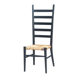 Four Hands - Stylish Tall Ladder Back Dining Chair - This Stylish Tall Ladder Back Dining Chair features svelte structure that has ladder-like backrest and traditional seat. The rugged construction is accompanied by alluring finish that makes complete furniture for your contemporary interiors. The Indonesian architecture redefines style with urban appeal. It is available in matte black color. Suitable for dining settings, living room or anywhere you want to place it.