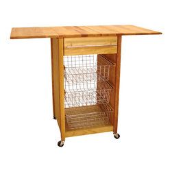 Catskill Craftsmen - Catskill Craftsmen Basket Butcher Block Kitchen Cart with 2 Drop Leaves - Catskill Craftsmen - Kitchen Carts - 7226 - The Catskill Craftsmen Basket Cart with 2 Drop Leaves brings convenience that's easy on the eyes to your home. The wheels provide great mobility and make this an easy addition to your kitchen. So spice up a homecooked meal with the Basket Cart.