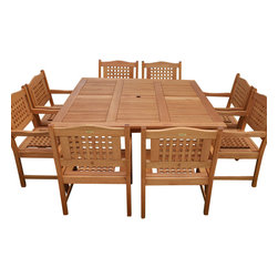 International Home Miami - Amazonia BT Milano Square Porto 9-Piece Patio Dining Set - Great Quality, elegant design patio set, made of solid eucalyptus wood. FSC (Forest Stewardship Council) certified. Enjoy your patio with style with these great sets from our Amazonia outdoor collection, an outdoor-Piece suited for a plethora of uses, whether it be a casual family dinner or upscale event.