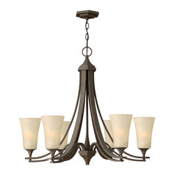 Hinkley Lighting - Brantley 6-Light Chandelier - Think of a chandelier as jewelry for your ceiling. This chandelier will meet your strict guidelines for quality. Twin arm construction, oil-rubbed bronze finish and etched glass globes combine for a simply stunning piece of jewelry. Besides, aren't you worth it?