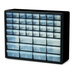 Akro-Mils - 44 Combo, Drawer Storage Cabinet - Cabinet stacks securely and can also be wall mounted with keyhole slots. Clarified polypropylene, dividable drawers offer easy content identification. Finger-grip drawer pulls provide easy access and rear stop tabs prevent contents from spilling. Optimize storage space and improve parts protection.
