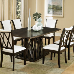Homelegance - Homelegance Garvey 7 Piece Pedestal Dining Room Set w/ White Chairs - Beautiful from every angle  the ebony finished Garvey Collection is a unique addition to your contemporary or transitional casual dining room. The boldly designed base of the table features interwoven wood slats creating a birdcage effect. The radiating walnut veneer pattern of the tabletop creates another design layer that takes the style to the next level. With two chair options  the collection becomes exactly what you envision. White or dark brown bi-cast vinyl seating and backs are accented with the base's X-design rounding out the look.
