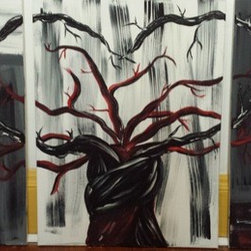 Becoming One (Original) By Krystal Rosado - A painting of becoming one. This 3 piece canvas suppose to represent love and coming together 1(24x18) 2( 24x12))